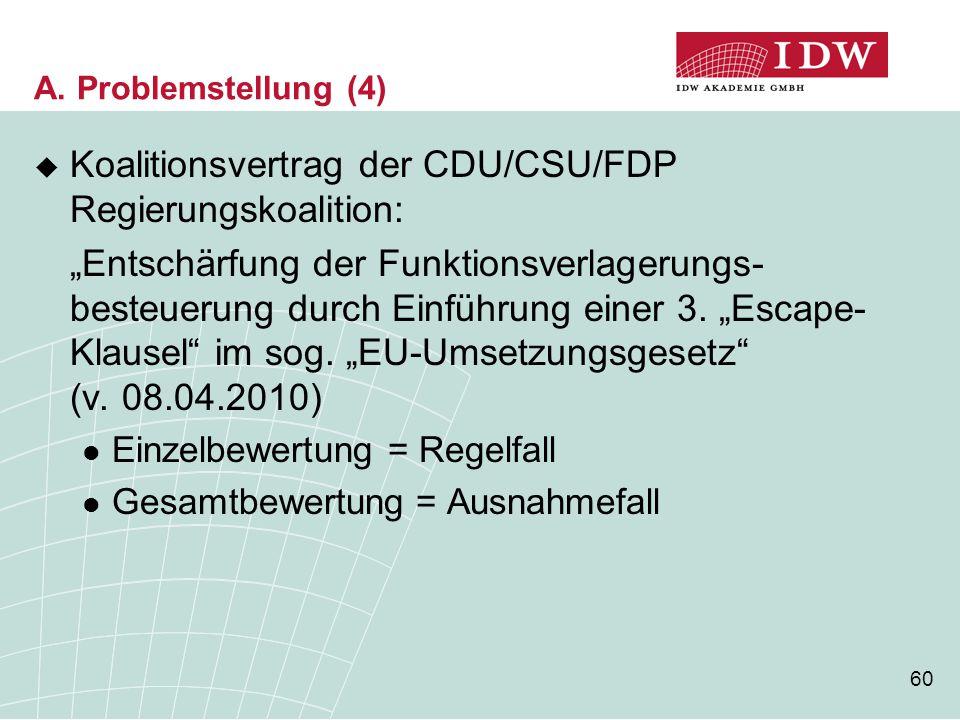 """60 A. Problemstellung (4)  Koalitionsvertrag der CDU/CSU/FDP Regierungskoalition: """"Entschärfung der Funktionsverlagerungs- besteuerung durch Einführu"""