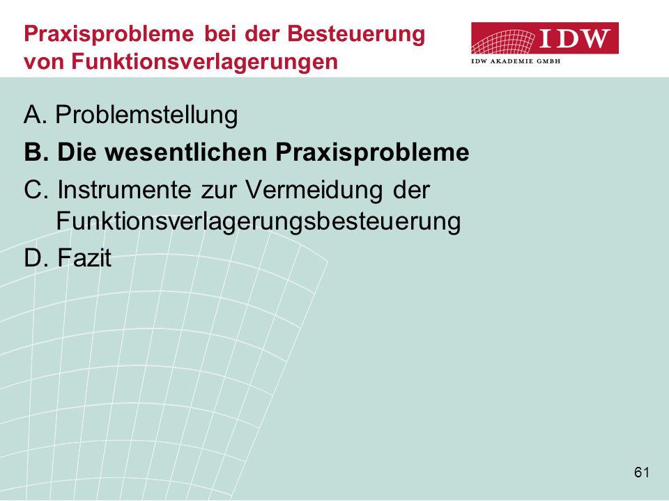 61 Praxisprobleme bei der Besteuerung von Funktionsverlagerungen A. Problemstellung B. Die wesentlichen Praxisprobleme C. Instrumente zur Vermeidung d