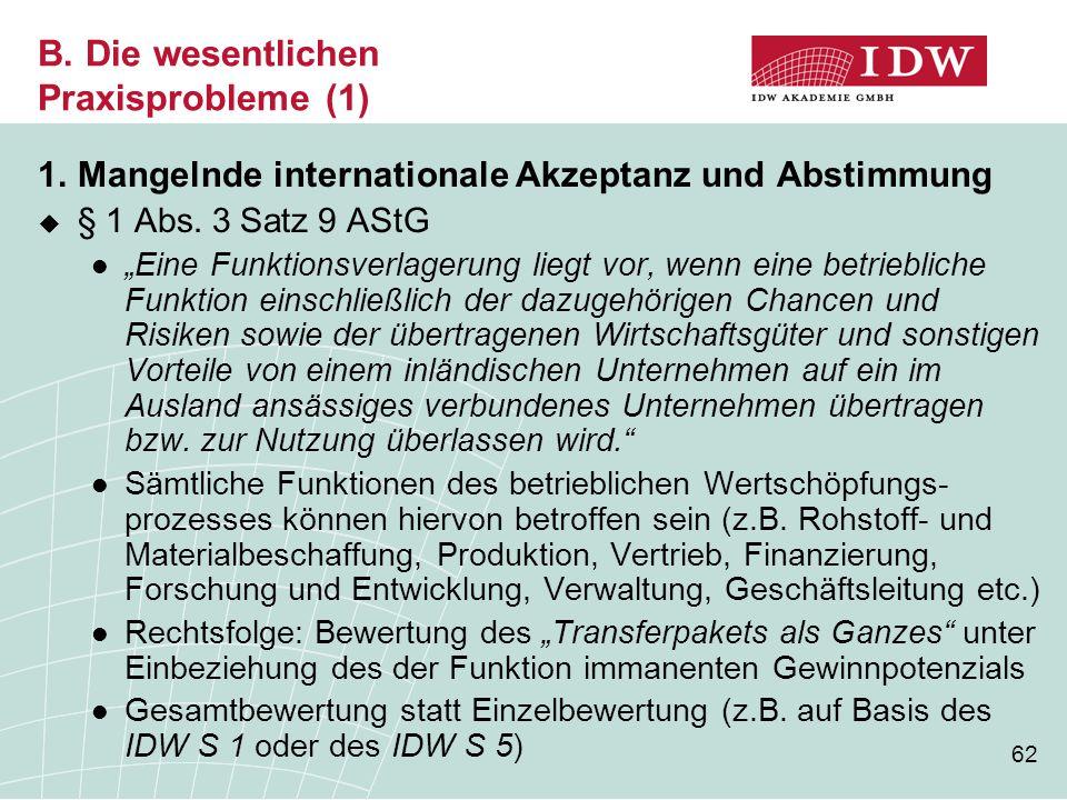 """62 B. Die wesentlichen Praxisprobleme (1) 1.Mangelnde internationale Akzeptanz und Abstimmung  § 1 Abs. 3 Satz 9 AStG """"Eine Funktionsverlagerung lieg"""