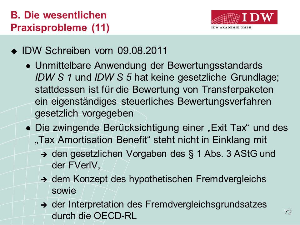 72 B. Die wesentlichen Praxisprobleme (11)  IDW Schreiben vom 09.08.2011 Unmittelbare Anwendung der Bewertungsstandards IDW S 1 und IDW S 5 hat keine