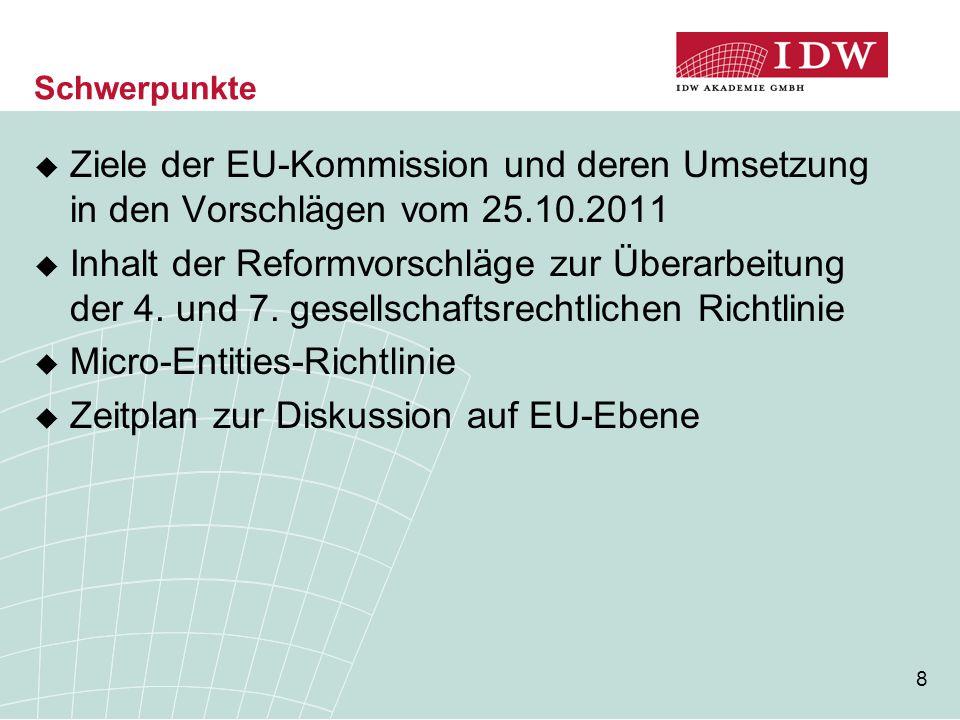 8 Schwerpunkte  Ziele der EU-Kommission und deren Umsetzung in den Vorschlägen vom 25.10.2011  Inhalt der Reformvorschläge zur Überarbeitung der 4.