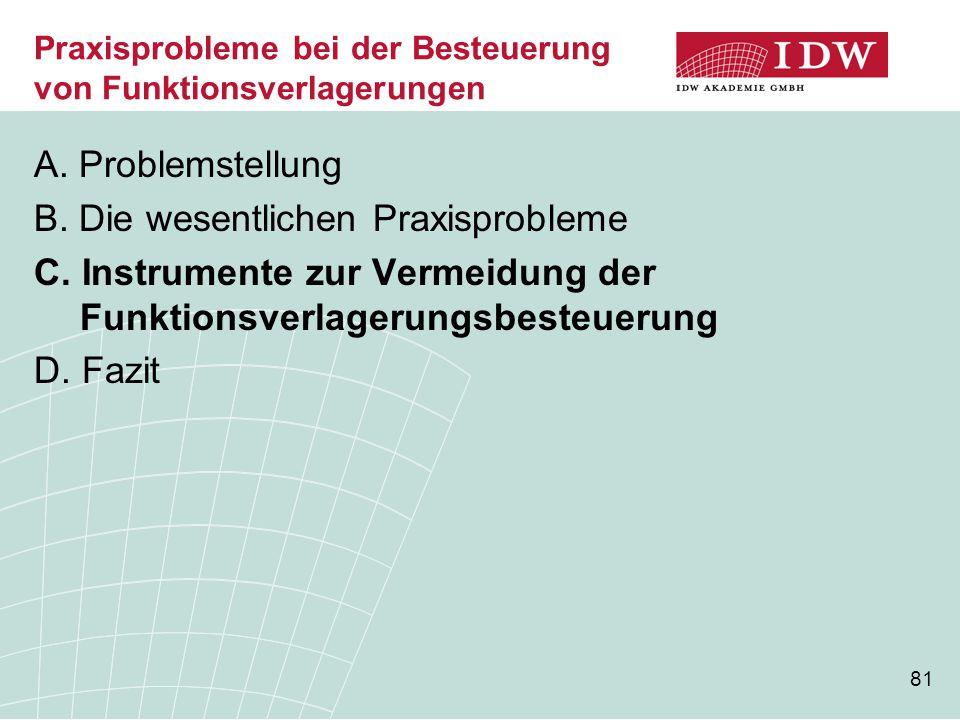 81 Praxisprobleme bei der Besteuerung von Funktionsverlagerungen A. Problemstellung B. Die wesentlichen Praxisprobleme C. Instrumente zur Vermeidung d