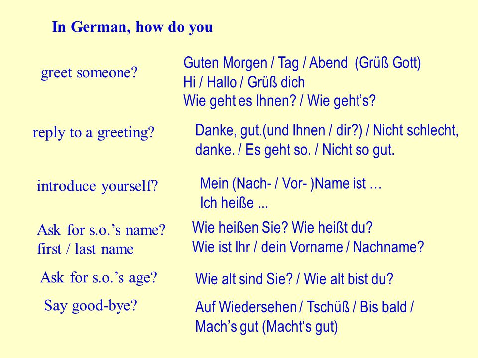 to ask for someone's name / age formal Wie heißen Sie.