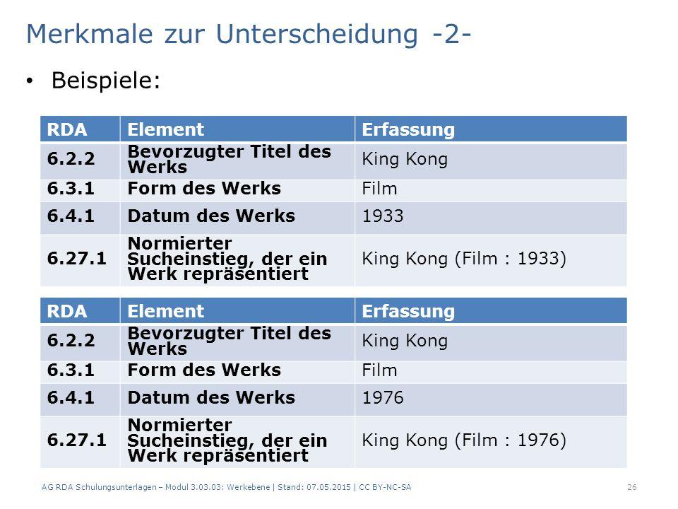 Merkmale zur Unterscheidung -2- Beispiele: AG RDA Schulungsunterlagen – Modul 3.03.03: Werkebene   Stand: 07.05.2015   CC BY-NC-SA 26 RDAElementErfass