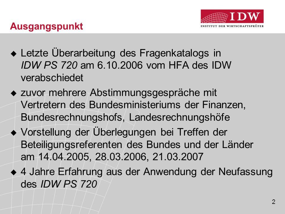 2 Ausgangspunkt  Letzte Überarbeitung des Fragenkatalogs in IDW PS 720 am 6.10.2006 vom HFA des IDW verabschiedet  zuvor mehrere Abstimmungsgespräch