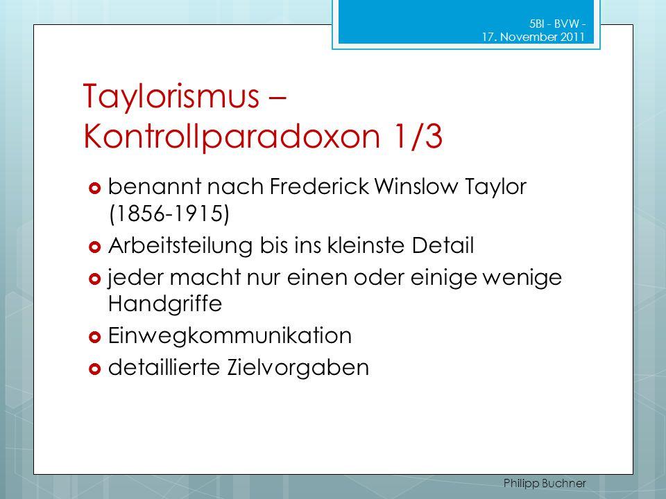 Taylorismus – Kontrollparadoxon 1/3 5BI - BVW - 17. November 2011 Philipp Buchner  benannt nach Frederick Winslow Taylor (1856-1915)  Arbeitsteilung