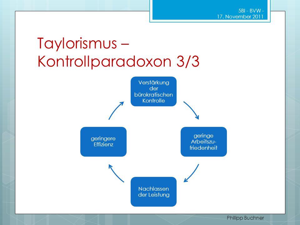 Taylorismus – Kontrollparadoxon 3/3 Verstärkung der bürokratischen Kontrolle geringe Arbeitszu- friedenheit Nachlassen der Leistung geringere Effizien