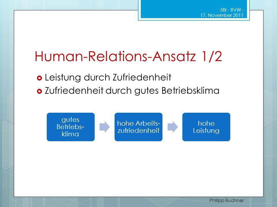 Human-Relations-Ansatz 1/2 5BI - BVW - 17. November 2011 Philipp Buchner  Leistung durch Zufriedenheit  Zufriedenheit durch gutes Betriebsklima gute