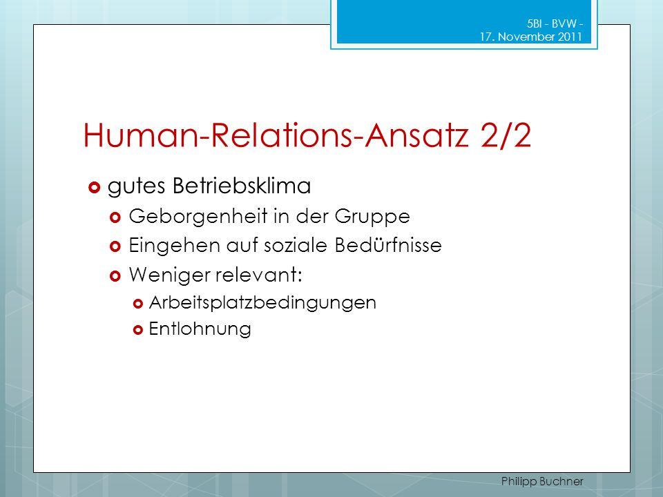 Human-Relations-Ansatz 2/2  gutes Betriebsklima  Geborgenheit in der Gruppe  Eingehen auf soziale Bedürfnisse  Weniger relevant:  Arbeitsplatzbed