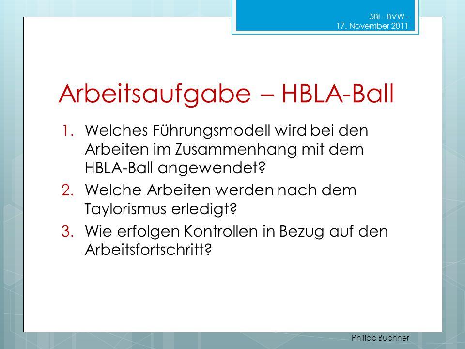 Arbeitsaufgabe – HBLA-Ball 1.Welches Führungsmodell wird bei den Arbeiten im Zusammenhang mit dem HBLA-Ball angewendet? 2.Welche Arbeiten werden nach