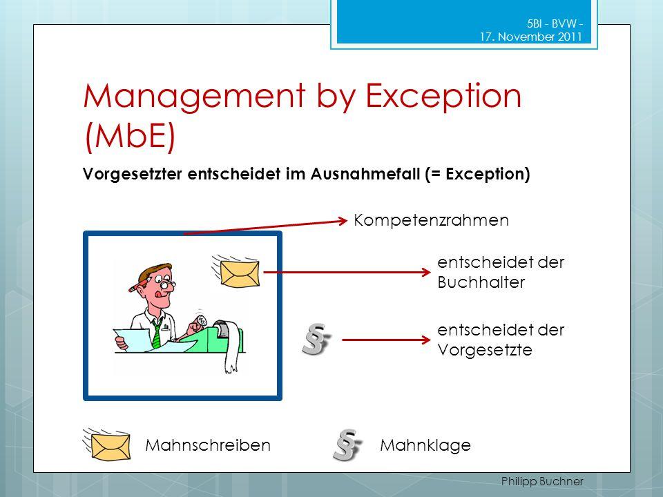 Management by Exception (MbE) 5BI - BVW - 17. November 2011 Philipp Buchner Kompetenzrahmen entscheidet der Buchhalter entscheidet der Vorgesetzte Mah
