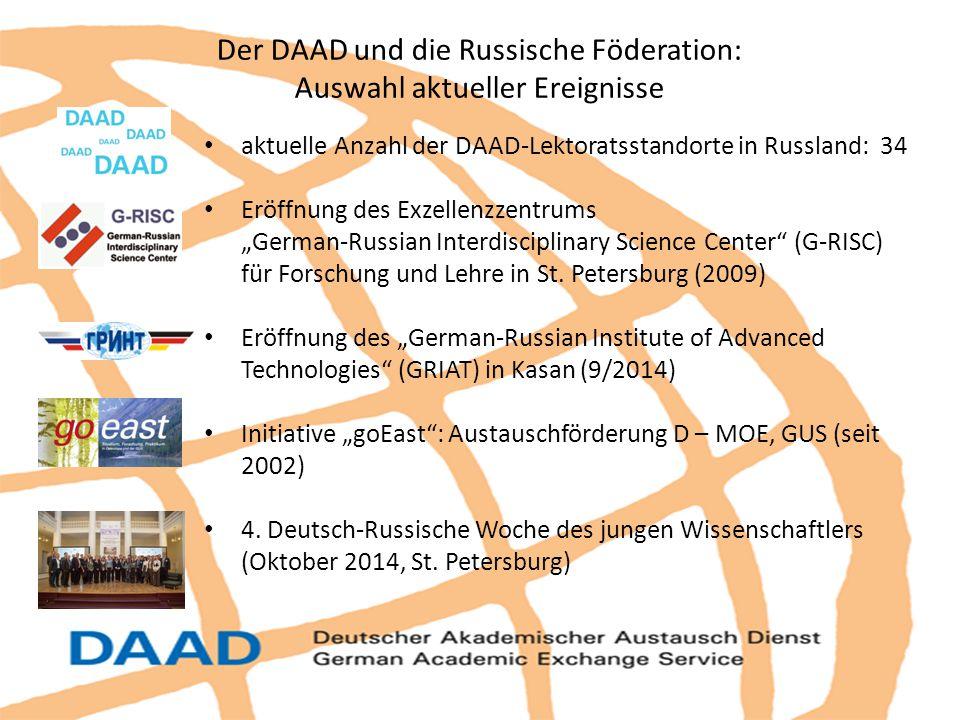 """aktuelle Anzahl der DAAD-Lektoratsstandorte in Russland: 34 Eröffnung des Exzellenzzentrums """"German-Russian Interdisciplinary Science Center"""" (G-RISC)"""