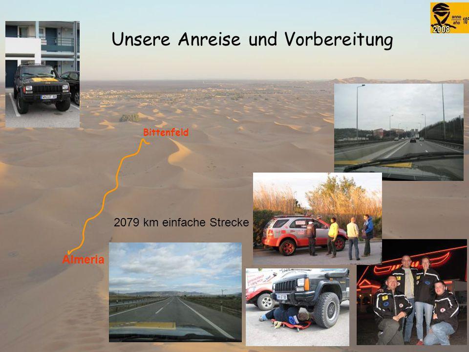 Unsere Anreise und Vorbereitung Bittenfeld Almeria 2079 km einfache Strecke