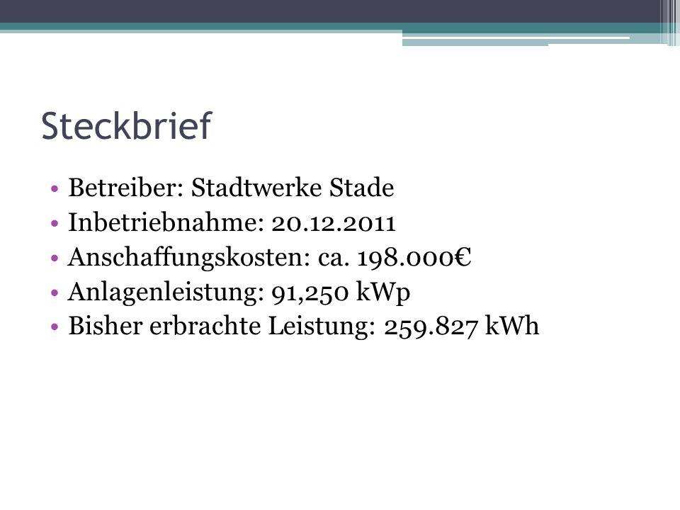 Steckbrief Betreiber: Stadtwerke Stade Inbetriebnahme: 20.12.2011 Anschaffungskosten: ca. 198.000€ Anlagenleistung: 91,250 kWp Bisher erbrachte Leistu