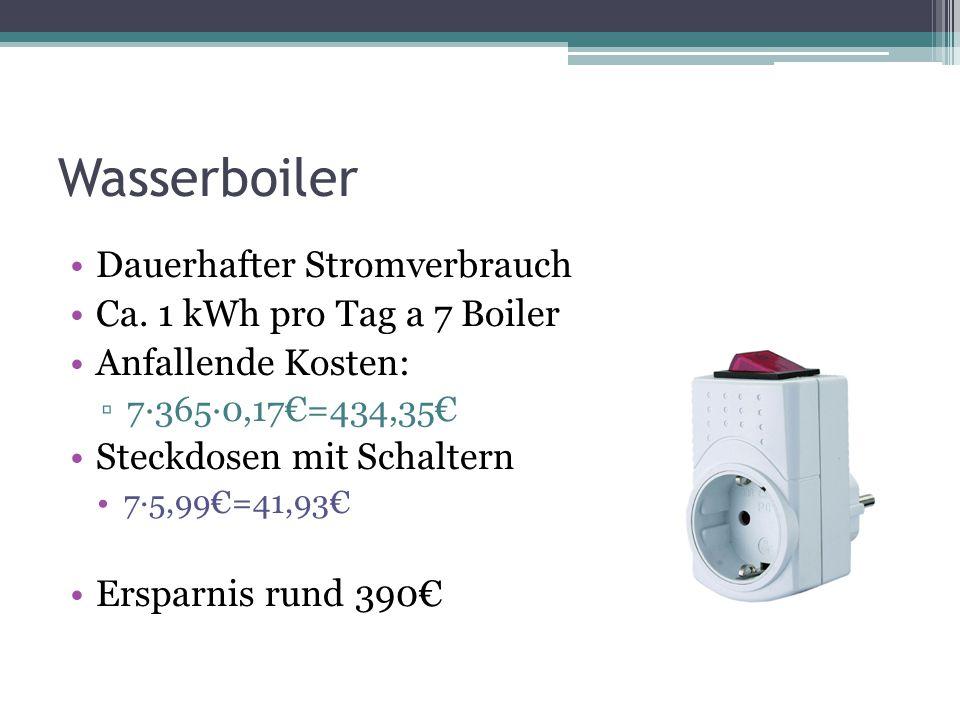 Wasserboiler Dauerhafter Stromverbrauch Ca. 1 kWh pro Tag a 7 Boiler Anfallende Kosten: ▫7∙365∙0,17€=434,35€ Steckdosen mit Schaltern 7∙5,99€=41,93€ E