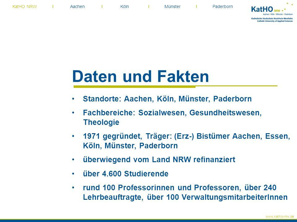 www.katho-nrw.de KatHO NRW I Aachen I Köln I Münster I Paderborn Daten und Fakten Standorte: Aachen, Köln, Münster, Paderborn Fachbereiche: Sozialwese