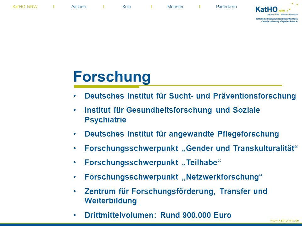 www.katho-nrw.de KatHO NRW I Aachen I Köln I Münster I Paderborn Forschung Deutsches Institut für Sucht- und Präventionsforschung Institut für Gesundh