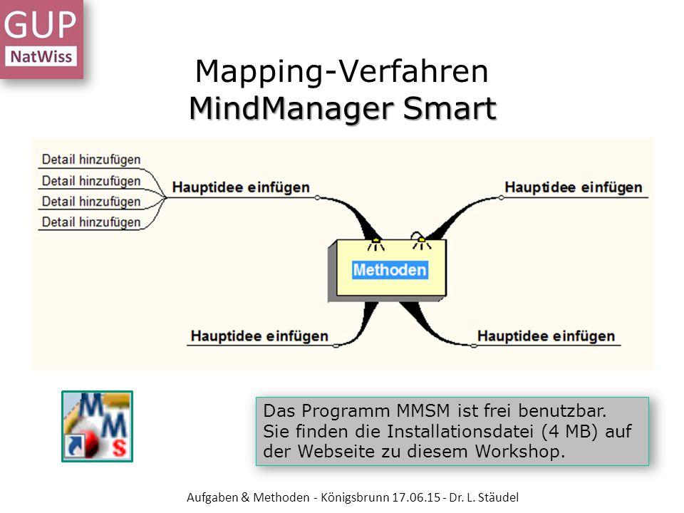 MindManager Smart Mapping-Verfahren MindManager Smart Das Programm MMSM ist frei benutzbar. Sie finden die Installationsdatei (4 MB) auf der Webseite