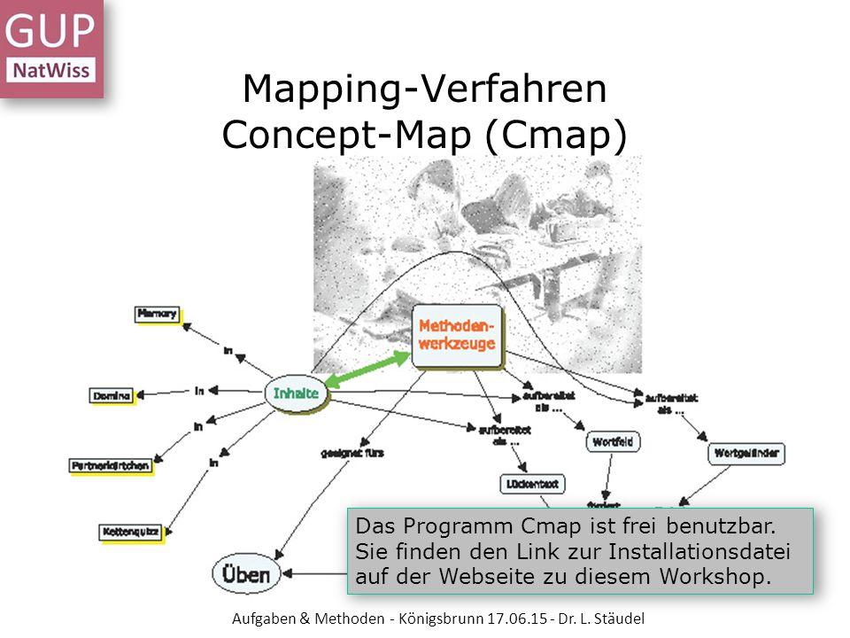 Das Programm Cmap ist frei benutzbar. Sie finden den Link zur Installationsdatei auf der Webseite zu diesem Workshop. Mapping-Verfahren Concept-Map (C
