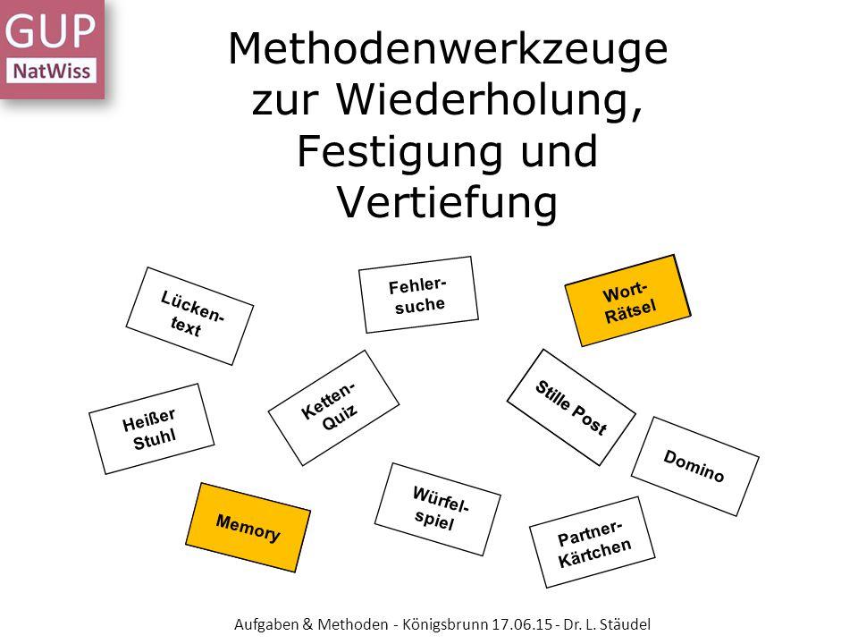 Methodenwerkzeuge zur Wiederholung, Festigung und Vertiefung Ketten- Quiz Stille Post Heißer Stuhl Lücken- text Fehler- suche 17 Wort- Rätsel Domino M