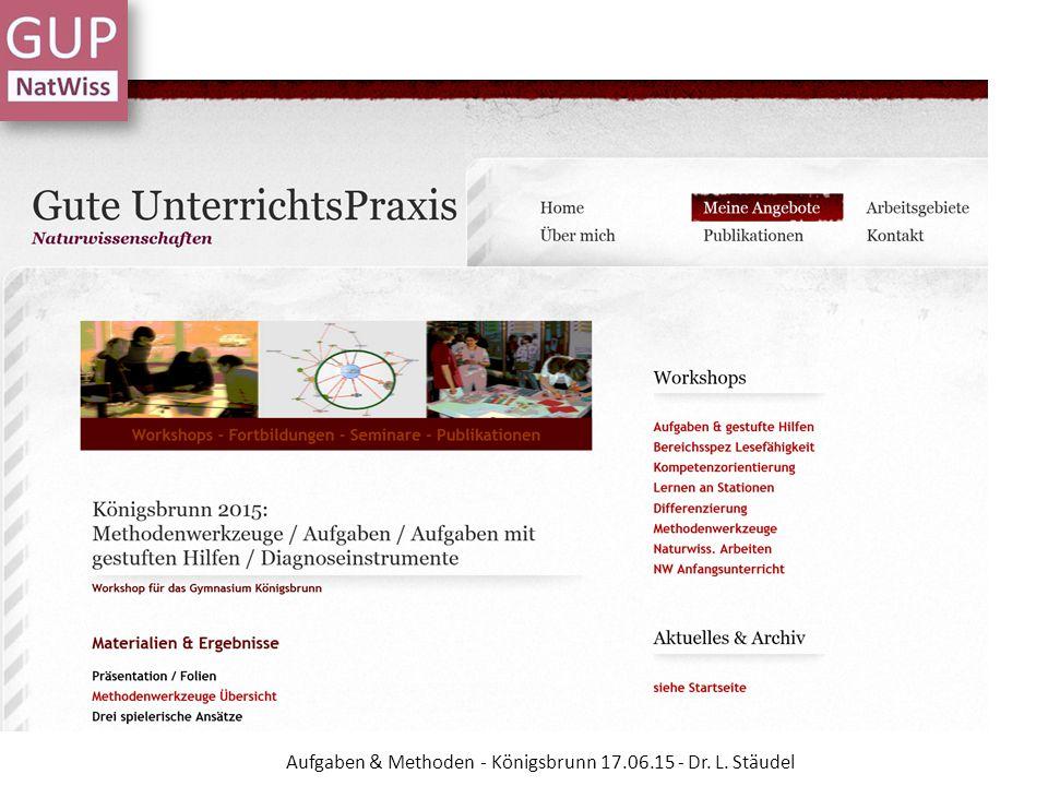 Methodenwerkzeuge weitere Ressourcen Medienportal der Siemens Stiftung DFU- Materialien zum Projekt Experimento 10+ Aufgaben & Methoden - Königsbrunn 17.06.15 - Dr.