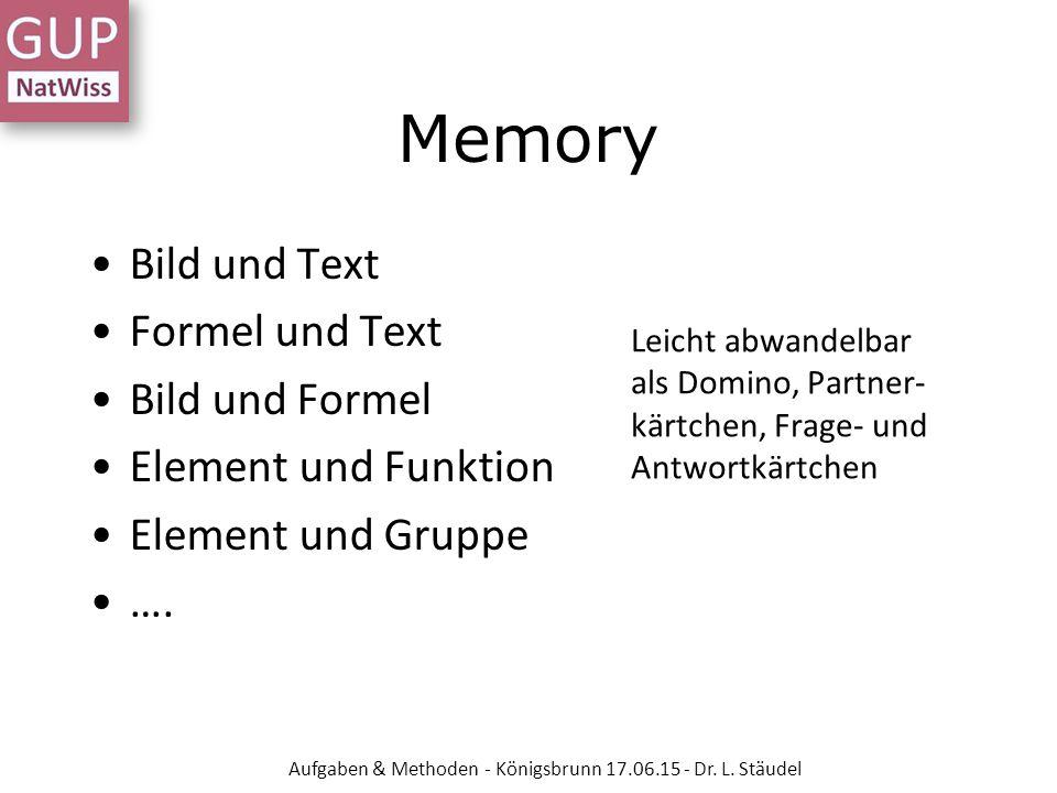 Memory Bild und Text Formel und Text Bild und Formel Element und Funktion Element und Gruppe …. Leicht abwandelbar als Domino, Partner- kärtchen, Frag