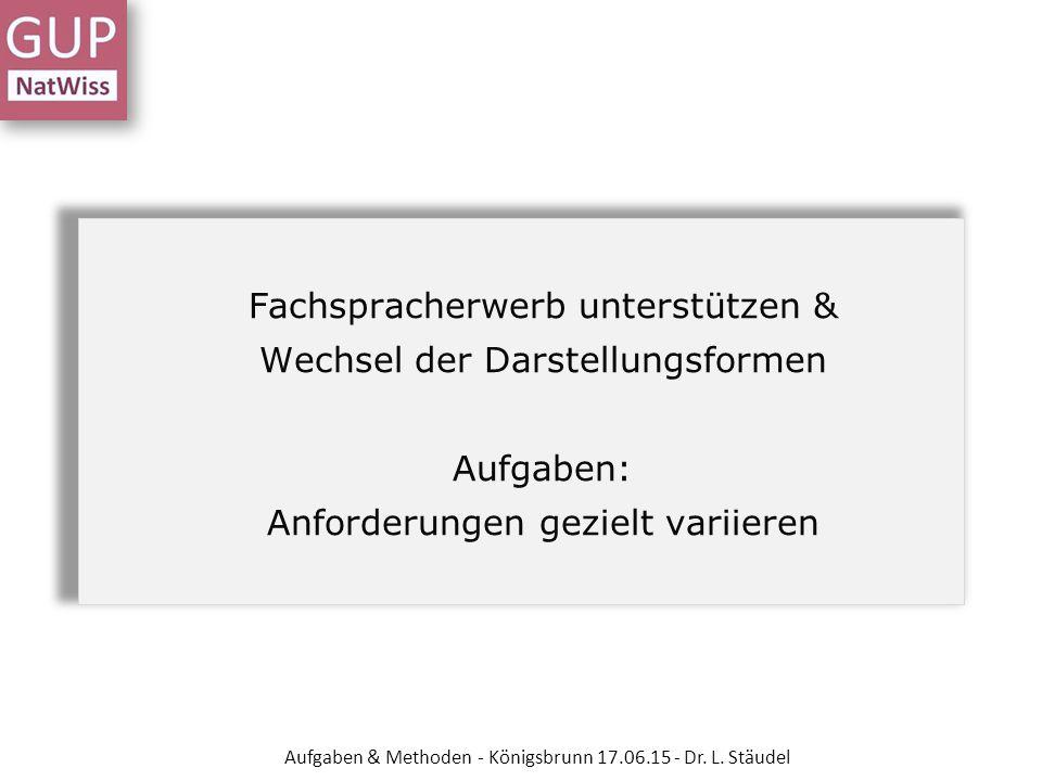 Fachspracherwerb unterstützen & Wechsel der Darstellungsformen Aufgaben: Anforderungen gezielt variieren Aufgaben & Methoden - Königsbrunn 17.06.15 -