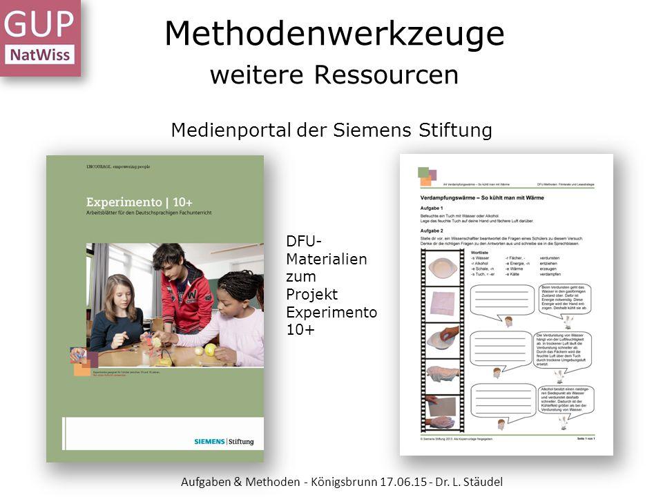 Methodenwerkzeuge weitere Ressourcen Medienportal der Siemens Stiftung DFU- Materialien zum Projekt Experimento 10+ Aufgaben & Methoden - Königsbrunn