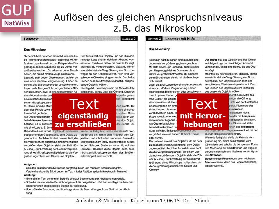 Auflösen des gleichen Anspruchsniveaus z.B. das Mikroskop Text eigenständig zu erschließen Text mit Hervor- hebungen Aufgaben & Methoden - Königsbrunn