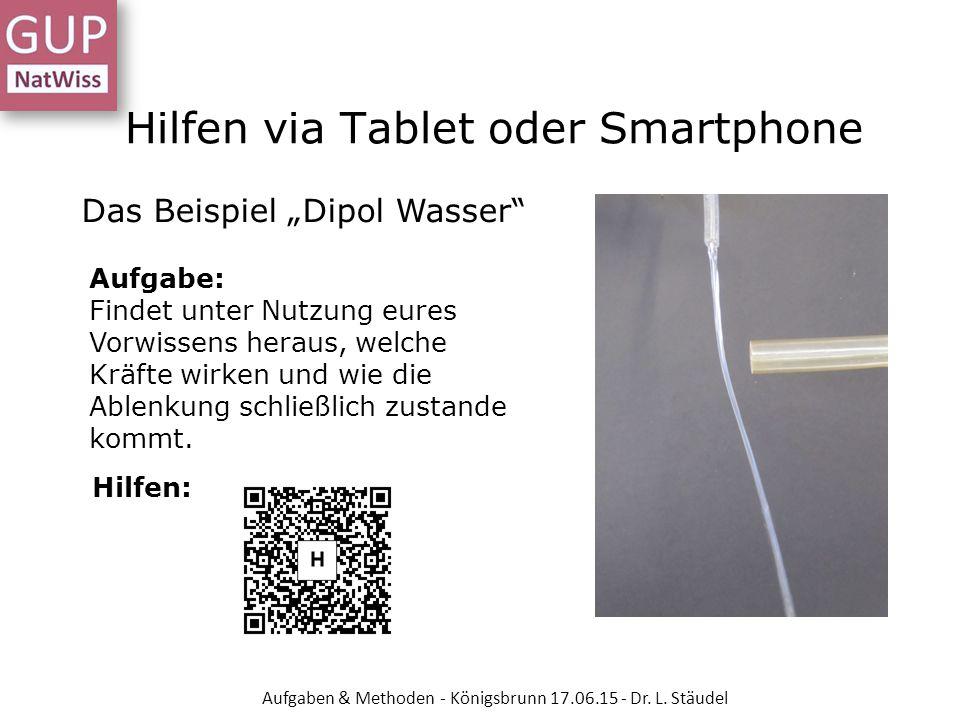 """Hilfen via Tablet oder Smartphone Das Beispiel """"Dipol Wasser"""" Aufgabe: Findet unter Nutzung eures Vorwissens heraus, welche Kräfte wirken und wie die"""