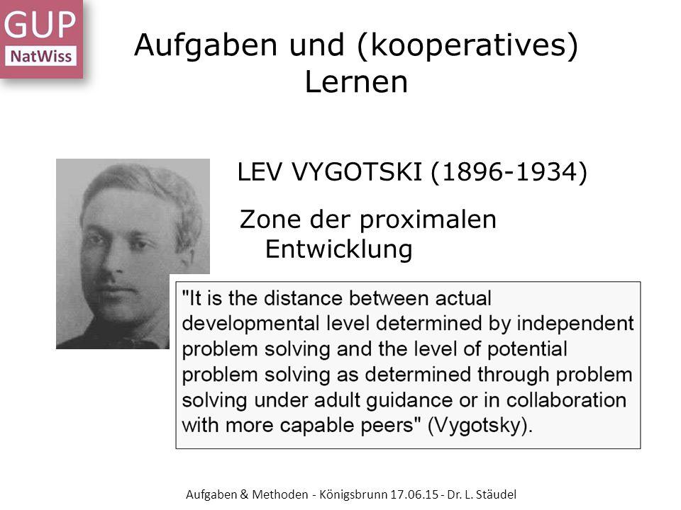 LEV VYGOTSKI (1896-1934) Zone der proximalen Entwicklung Aufgaben und (kooperatives) Lernen Aufgaben & Methoden - Königsbrunn 17.06.15 - Dr. L. Stäude