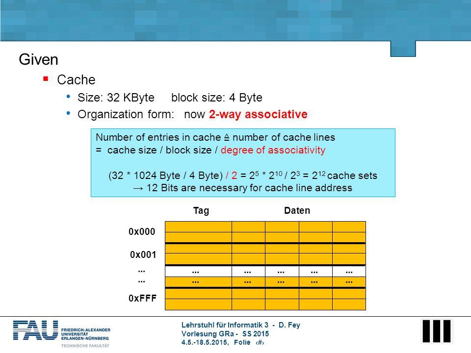 Lehrstuhl für Informatik 3 - D. Fey Vorlesung GRa - SS 2015 4.5.-18.5.2015, Folie 5 Number of entries in cache ≙ number of cache lines = cache size /