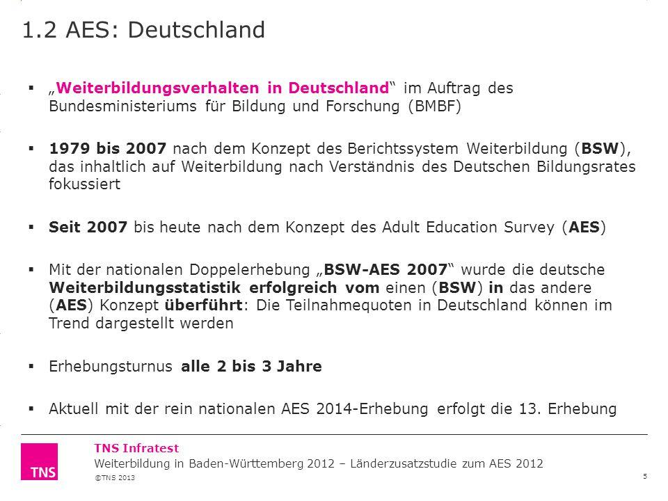 "©TNS 2013 3.14 X AXIS 6.65 BASE MARGIN 5.95 TOP MARGIN 4.52 CHART TOP 11.90 LEFT MARGIN 11.90 RIGHT MARGIN TNS Infratest 1.2 AES: Deutschland 5  ""Wei"