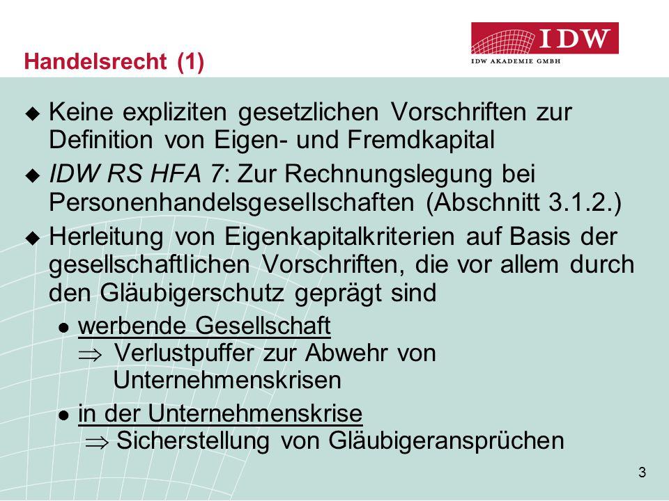34 Vorschlag des IDW für eine lang- fristige/dauerhafte Neuregelung (1)  EK-Funktionen in der Betriebswirtschaftslehre Haftungsfunktion  Ergebnisabhängigkeit  Nachrangigkeit  Residualanspruch bei Rückzahlung Finanzierungsfunktion  Rückzahlung nur bei Liquidation