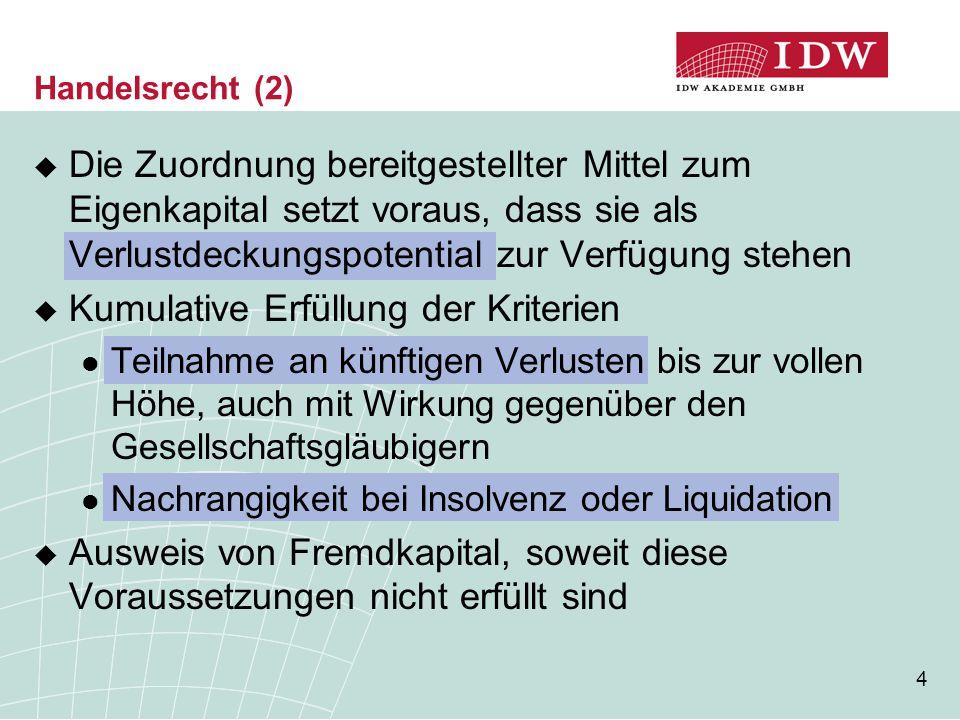 35 Vorschlag des IDW für eine lang- fristige/dauerhafte Neuregelung (2)  Einordnung der geltenden Regelungen HGB: Haftungsfunktion im Vordergrund IFRS: Finanzierungsfunktion im Vordergrund