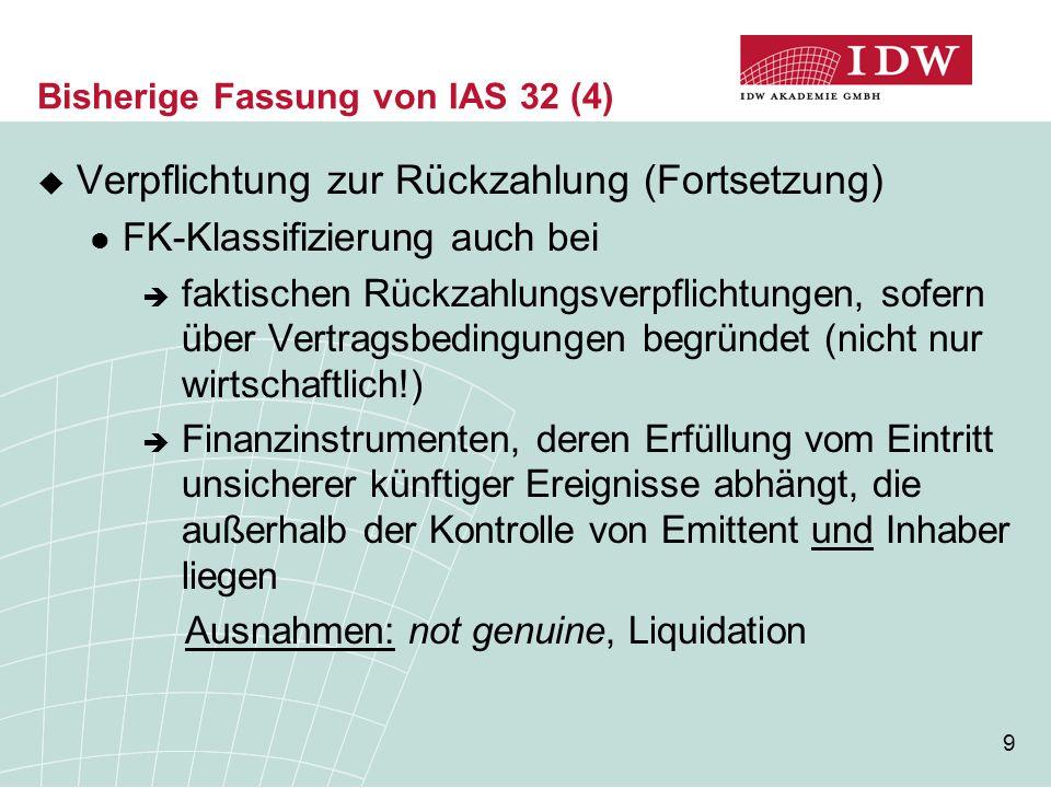 20 Bisherige Fassung von IAS 32 (15) direkt nach den IFRS im Eigenkapital zu erfassende Wertänderungen  Beispiel: Neubewertungsbeträge, Wertänderungen von zur Veräußerung verfügbaren Finanzinstrumenten  werden ggf.