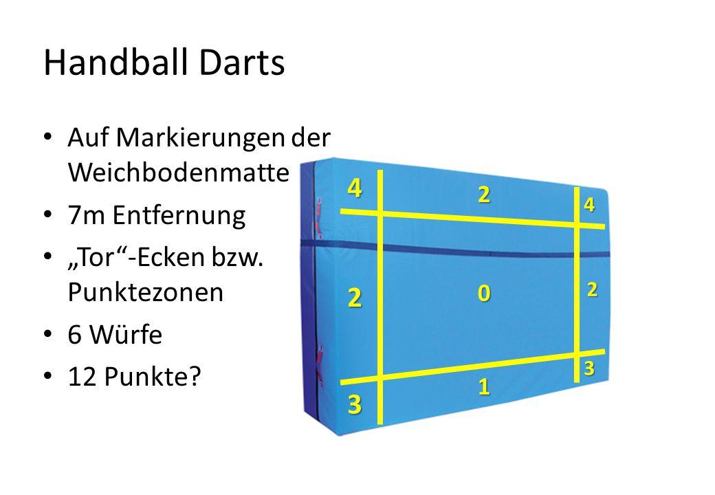 """Handball Darts Auf Markierungen der Weichbodenmatte 7m Entfernung """"Tor -Ecken bzw."""