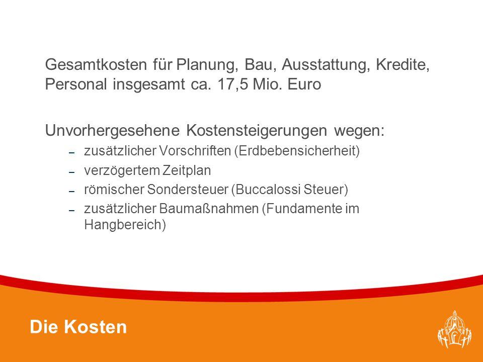 Textmasterformate durch Klicken bearbeiten 20 Die Kosten Gesamtkosten für Planung, Bau, Ausstattung, Kredite, Personal insgesamt ca. 17,5 Mio. Euro Un