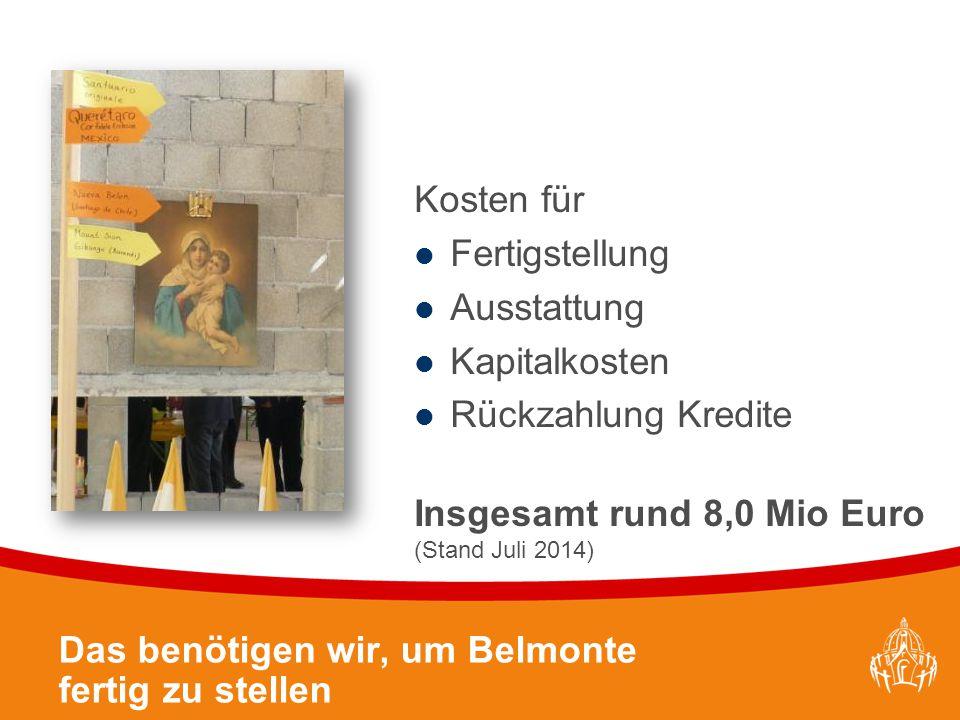 Textmasterformate durch Klicken bearbeiten 24 Das benötigen wir, um Belmonte fertig zu stellen Kosten für Fertigstellung Ausstattung Kapitalkosten Rückzahlung Kredite Insgesamt rund 8,0 Mio Euro (Stand Juli 2014)