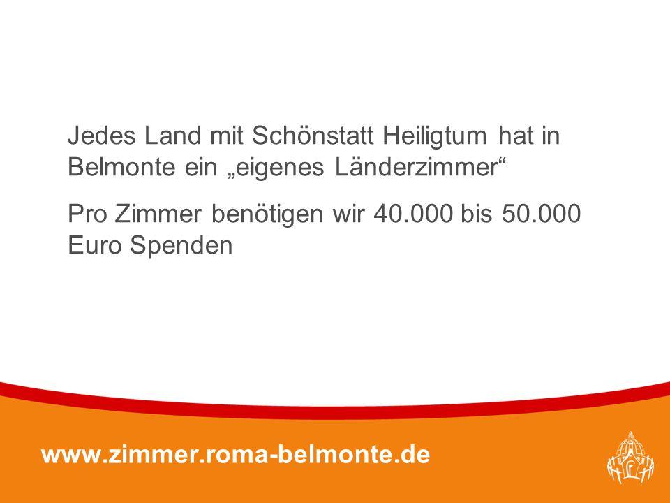 """Textmasterformate durch Klicken bearbeiten 28 www.zimmer.roma-belmonte.de Jedes Land mit Schönstatt Heiligtum hat in Belmonte ein """"eigenes Länderzimme"""