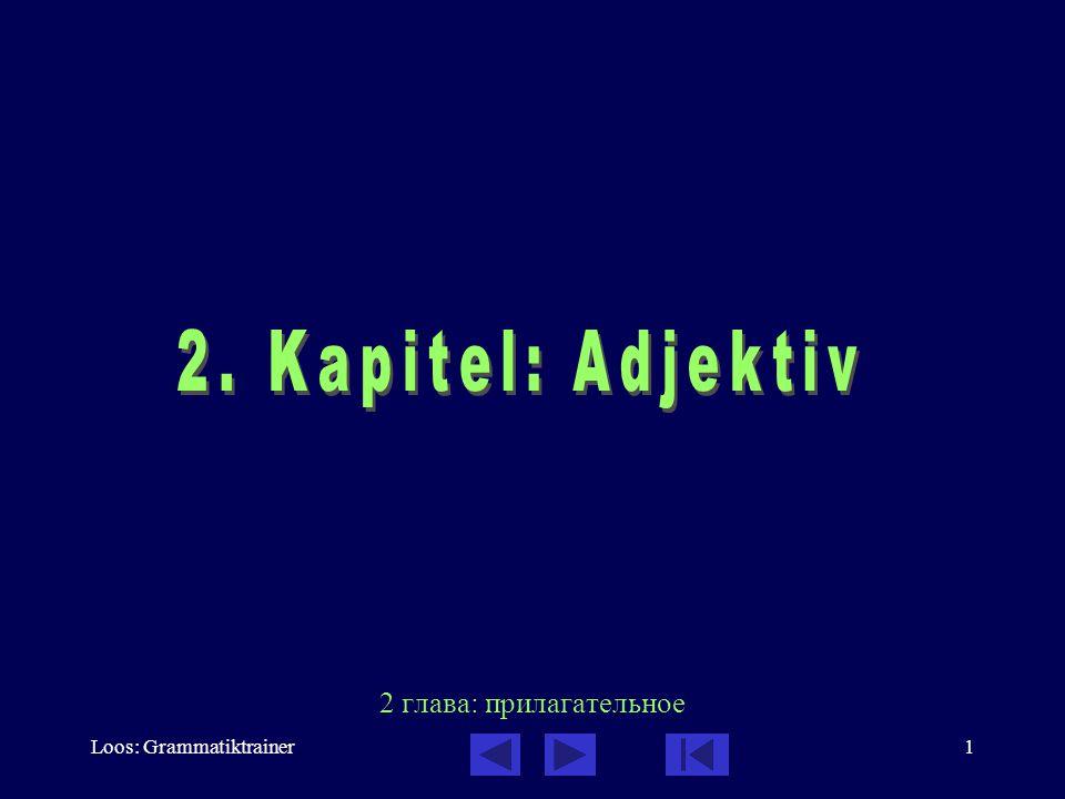 Loos: Grammatiktrainer2 Adjektiv: Inhalt des Kapitels 1.