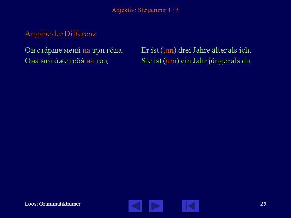 Loos: Grammatiktrainer25 Adjektiv: Steigerung 4 / 5 Angabe der Differenz Он стàрше менÿ на три гîда.