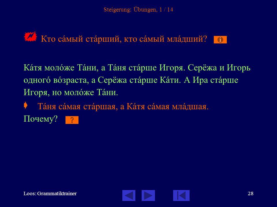 Loos: Grammatiktrainer28 Steigerung: Übungen, 1 / 14  Кто сàмый стàрший, кто сàмый млàдший.