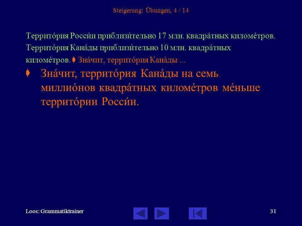 Loos: Grammatiktrainer31 Steigerung: Übungen, 4 / 14 Территîрия Россèи приблизèтельно 17 млн.