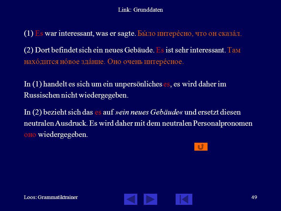 Loos: Grammatiktrainer49 Link: Grunddaten (1) Es war interessant, was er sagte.
