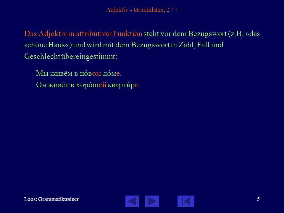 Loos: Grammatiktrainer5 Adjektiv - Grunddaten, 2 / 7 Das Adjektiv in attributiver Funktion steht vor dem Bezugswort (z.B.