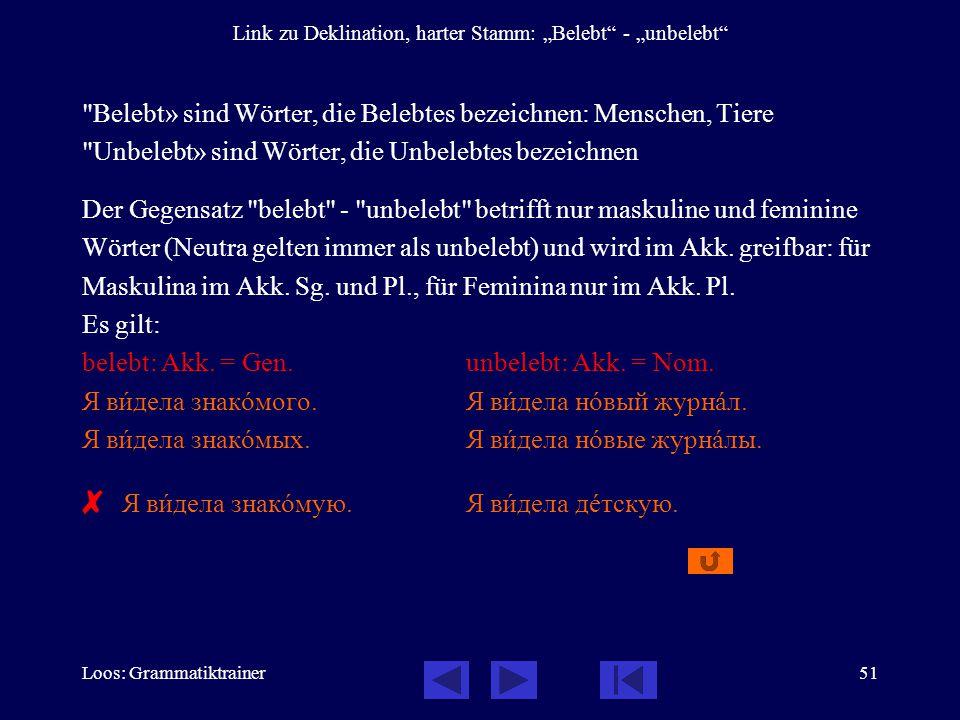 "Loos: Grammatiktrainer51 Link zu Deklination, harter Stamm: ""Belebt"" - ""unbelebt"""