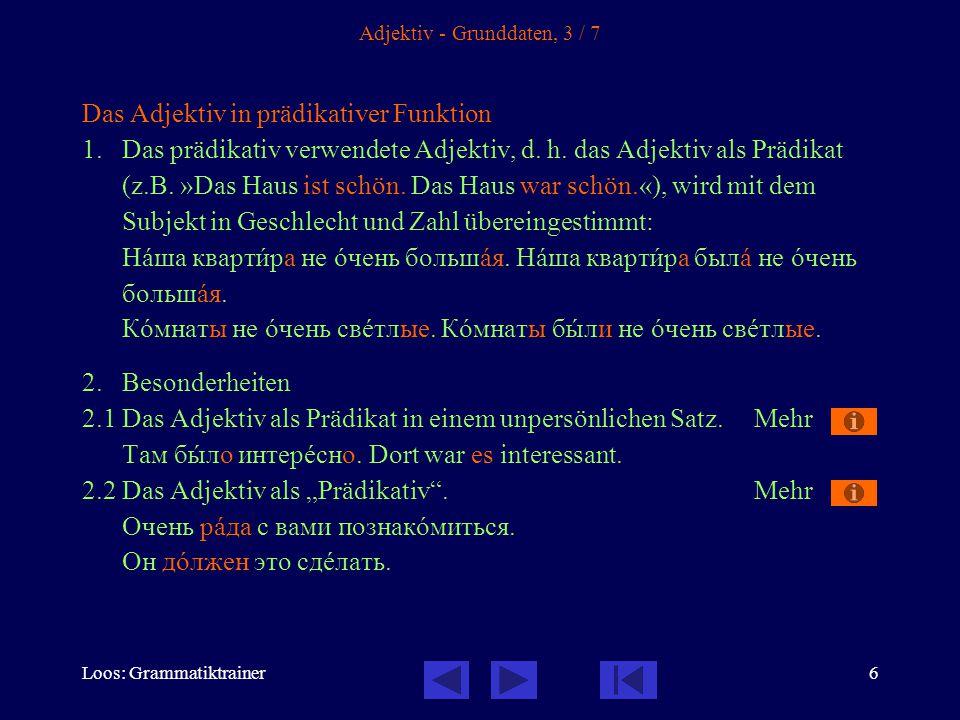 Loos: Grammatiktrainer47 Link zu Grundprinzipien: ы/и-Regel Aussprache: nach -г-, -к-, -х- und den weichen -ч-, -щ- wird immer [-и-] gesprochen, nach den harten -ж-, -ш- wird immer [-ы-] gesprochen.