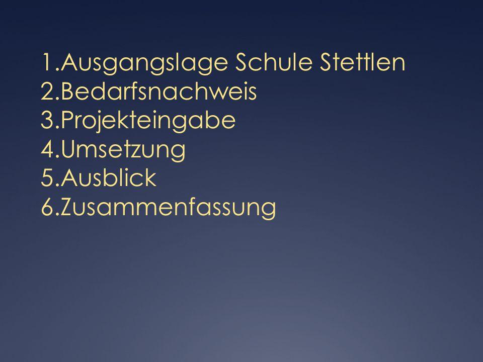 Stand Umsetzung heute:  Internetzugang:  UPC-Anschluss / 70 mBit/s download / eigene Firewall/ im OS-Schulhaus (kostenpflichtig: Fr.