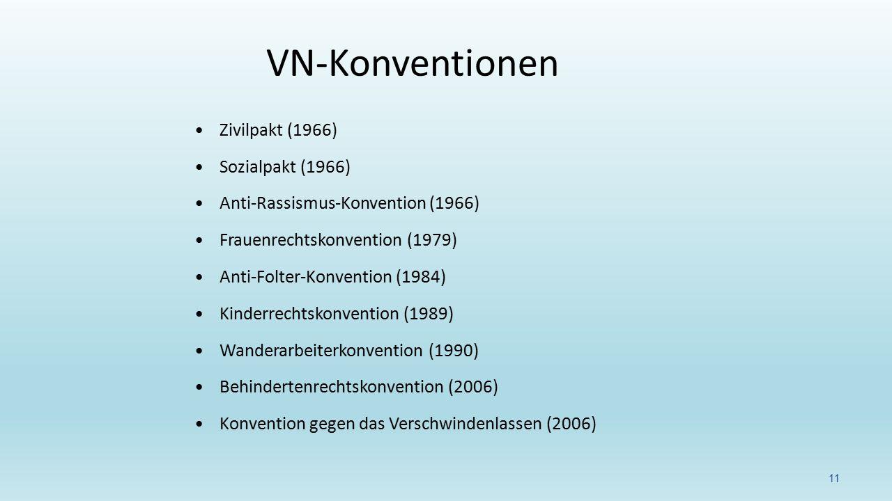 Zivilpakt (1966) Sozialpakt (1966) Anti-Rassismus-Konvention (1966) Frauenrechtskonvention (1979) Anti-Folter-Konvention (1984) Kinderrechtskonvention